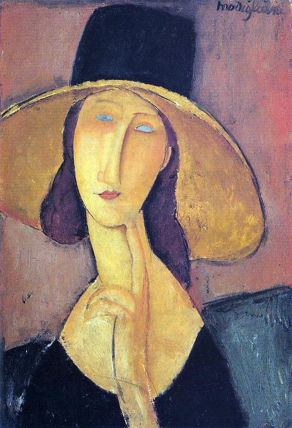 Amedeo Modigliani Jeanne Hebuterne in a Large Hat (also known as Portrait of Woman in Hat) - Canvas Art Print
