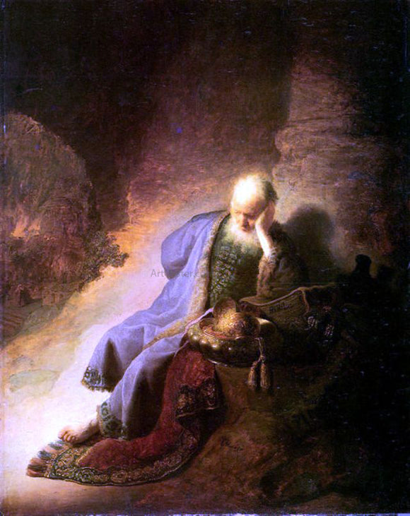 Rembrandt Van Rijn Jeremiah Lamenting the Destruction of Jerusalem - Canvas Art Print