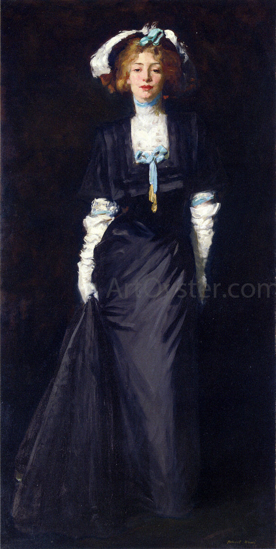 Robert Henri Jessica Penn in Black with White Plumes - Canvas Art Print