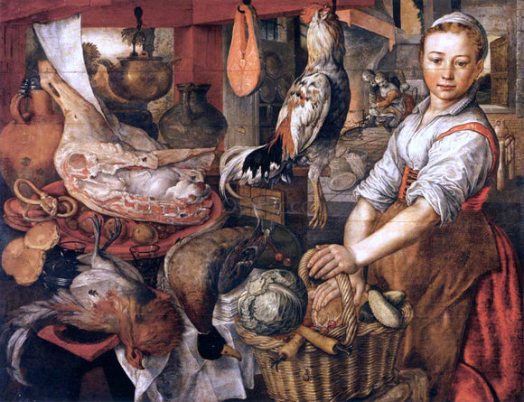 Joachim Beuckelaer Kitchen Interior - Canvas Art Print