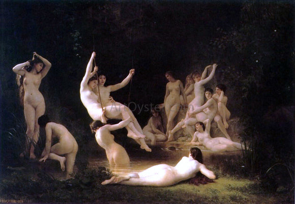 William Adolphe Bouguereau La nymphee (also known as The Nymphaeum) - Canvas Art Print