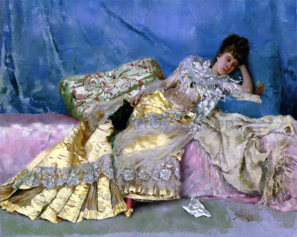 Julius LeBlanc Stewart Lady on a Pink Divan - Canvas Art Print