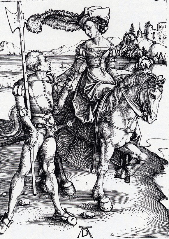 Albrecht Durer Lady On Horseback and Lansquenet - Canvas Art Print