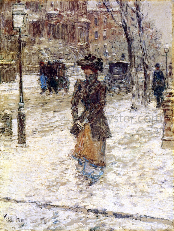Frederick Childe Hassam Lady Walking down Fifth Avenue - Canvas Art Print