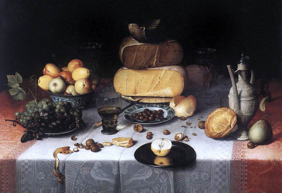 Floris Claesz Van Dijck Laid Table with Cheeses and Fruit - Canvas Art Print