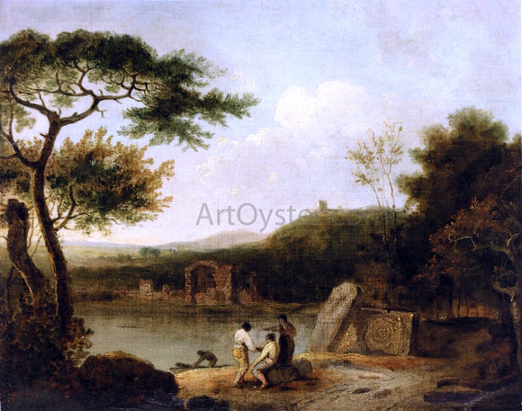 Richard R A Lake Avernus with Figures in the Foreground and the Temple of Apollo Beyond - Canvas Art Print