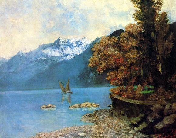 Gustave Courbet Lake Leman - Canvas Art Print