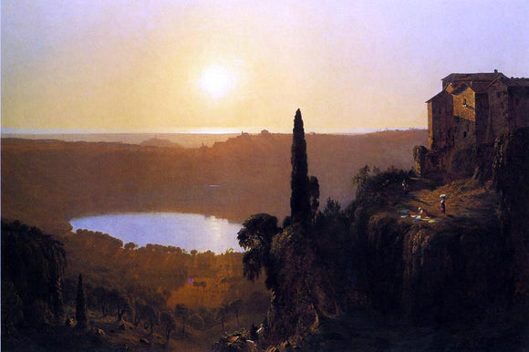Sanford Robinson Gifford Lake Nemi - Canvas Art Print