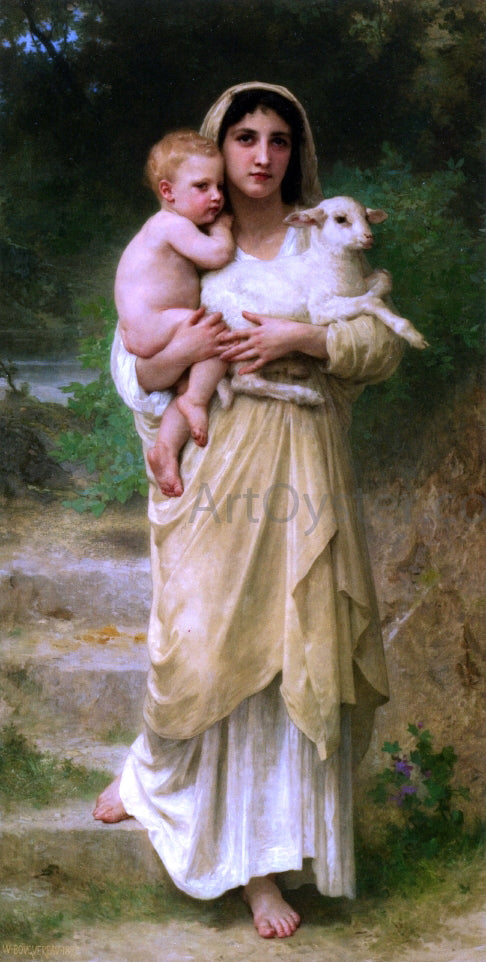 William Adolphe Bouguereau Lambs - Canvas Art Print
