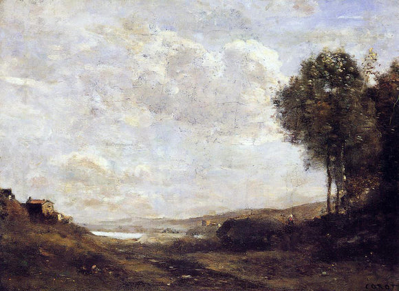Jean-Baptiste-Camille Corot Landscape by the Lake - Canvas Art Print