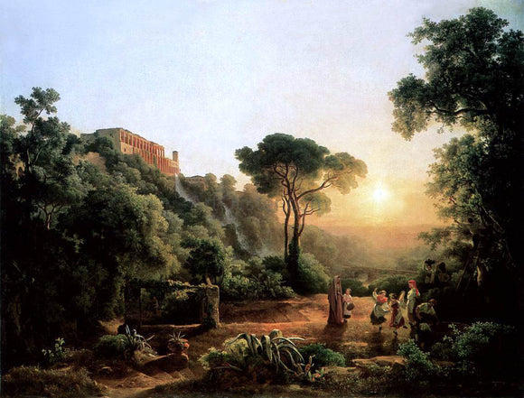 The Elder Karoly Marko Landscape near Tivoli with Vintager Scens - Canvas Art Print