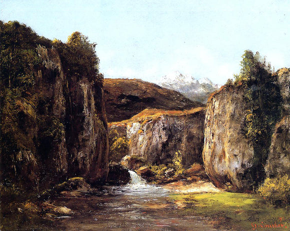 Gustave Courbet Landscape: The Source among the Rocks of the Doubs - Canvas Art Print
