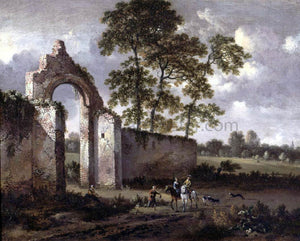 Jan Wynants Landscape with a Ruined Archway - Canvas Art Print