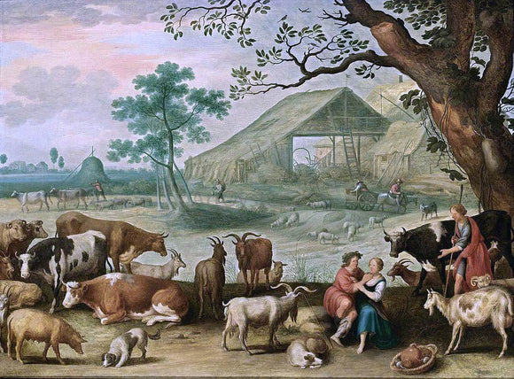 The Younger Willem Van  Nieulandt Landscape with Amorous Shepherds - Canvas Art Print