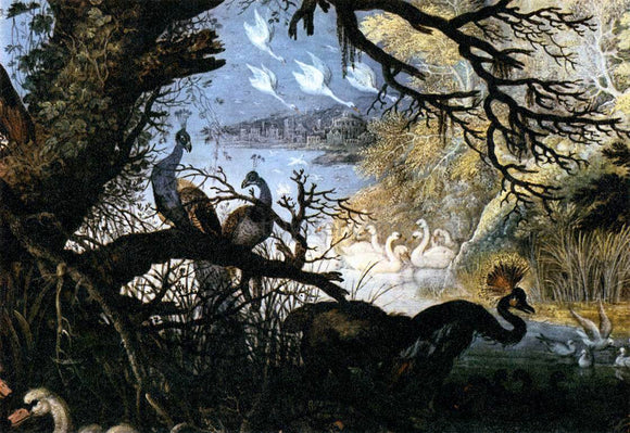 Roelandt Jacobszoon Savery Landscape with Birds (detail) - Canvas Art Print