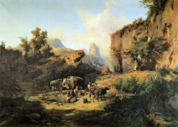 Andres Marko Landscape with Charcoal Burners - Canvas Art Print