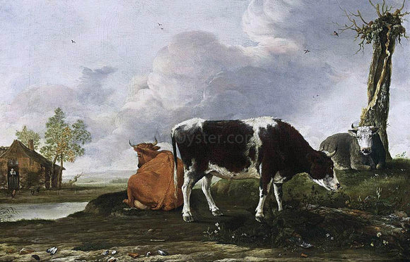 Anthonie Van Borssum A Landscape with Cows - Canvas Art Print
