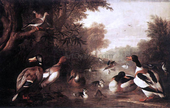 Jakab Bogdany Landscape with Ducks - Canvas Art Print