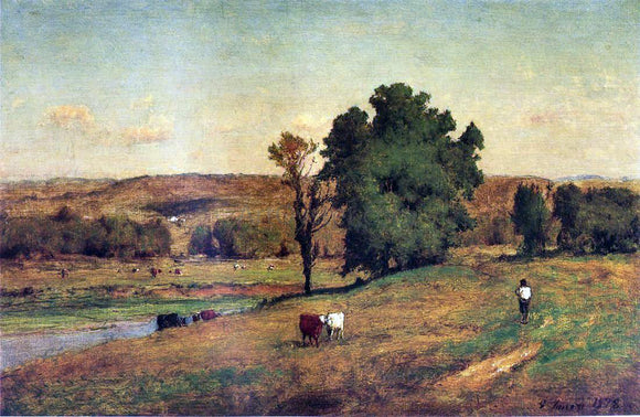 George Inness Landscape with Figure - Canvas Art Print