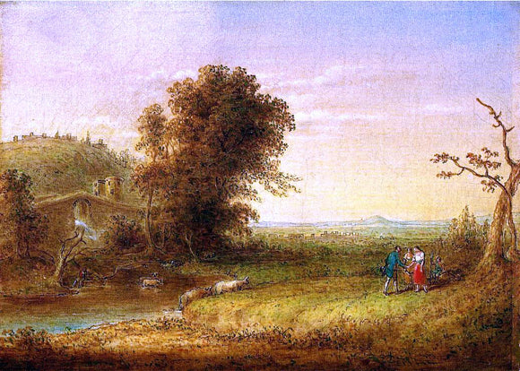 John Quidor Landscape with Figures - Canvas Art Print