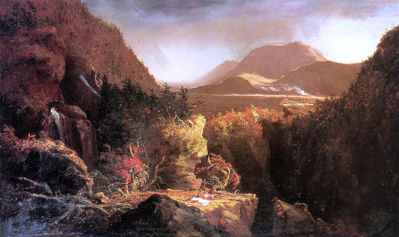Thomas Cole Landscape with Figures: A Scene from 'The Last of the Mohicans' - Canvas Art Print