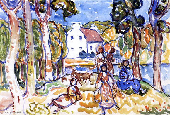Maurice Prendergast Landscape with Figures and Goat - Canvas Art Print