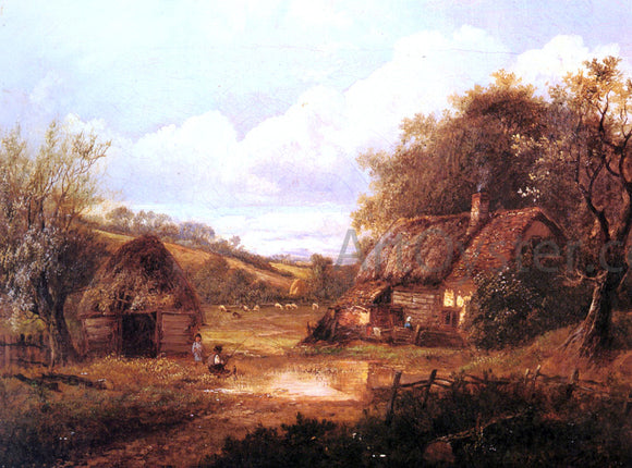 Joseph Thors Landscape with Figures Outside a Thatched Cottage - Canvas Art Print