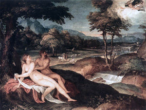 Lambert Sustris Landscape with Jupiter and Io - Canvas Art Print