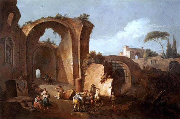 Giuseppe Zais Landscape with Ruins and Archway - Canvas Art Print