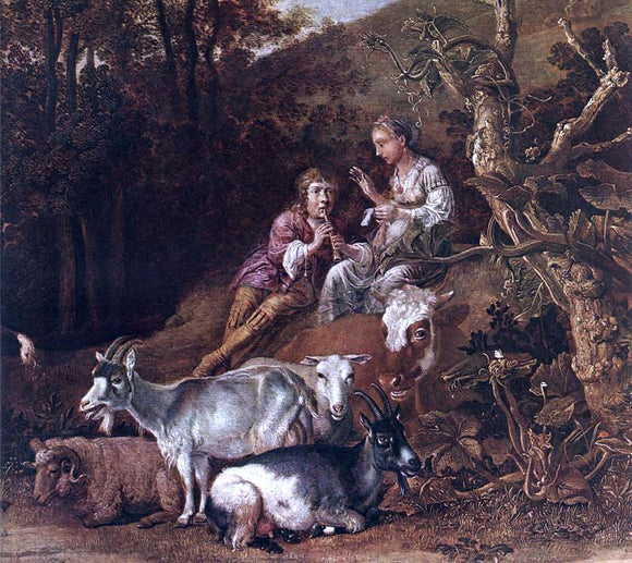 Paulus Potter Landscape with Shepherdess and Shepherd Playing Flute (detail) - Canvas Art Print
