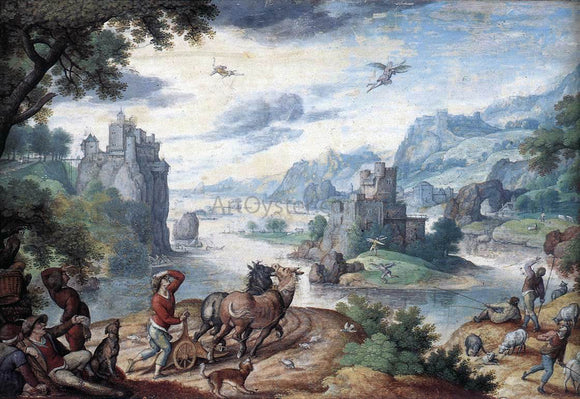 Hans Bol Landscape with the Fall of Icarus - Canvas Art Print