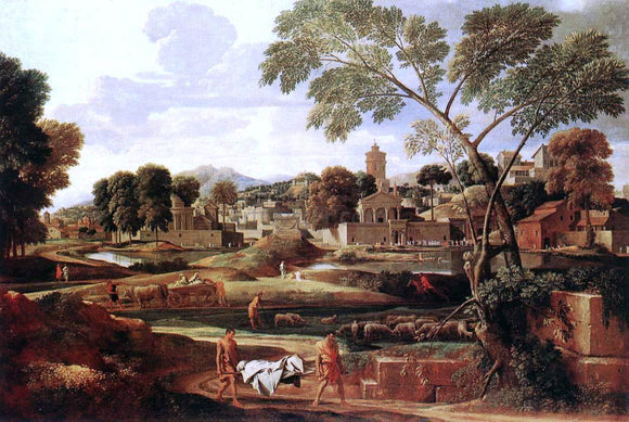 Nicolas Poussin Landscape with the Funeral of Phocion - Canvas Art Print