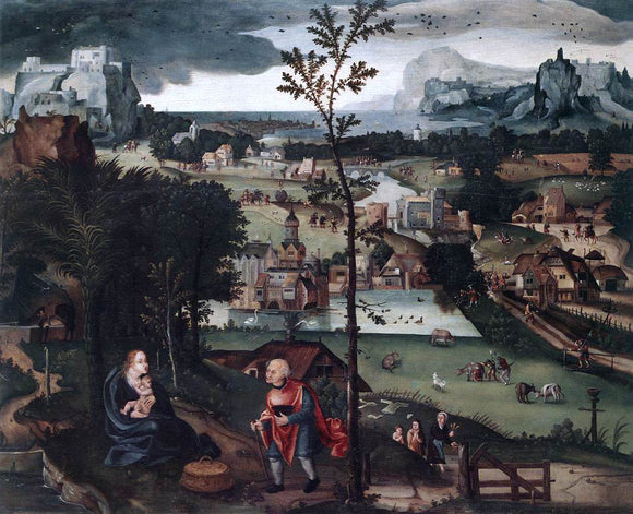 Joachim Patenier Landscape with the Rest on the Flight - Canvas Art Print