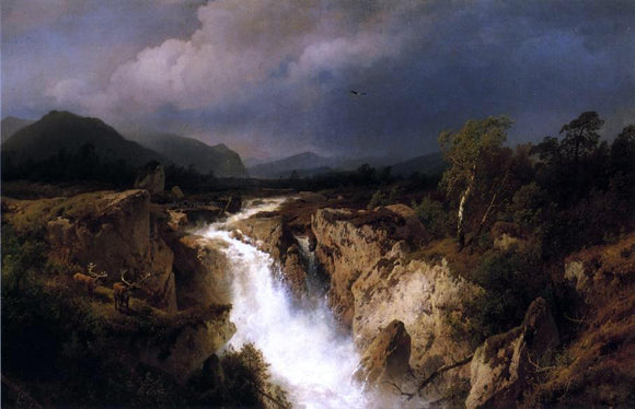 Herman Herzog Landscape with Waterfall - Canvas Art Print