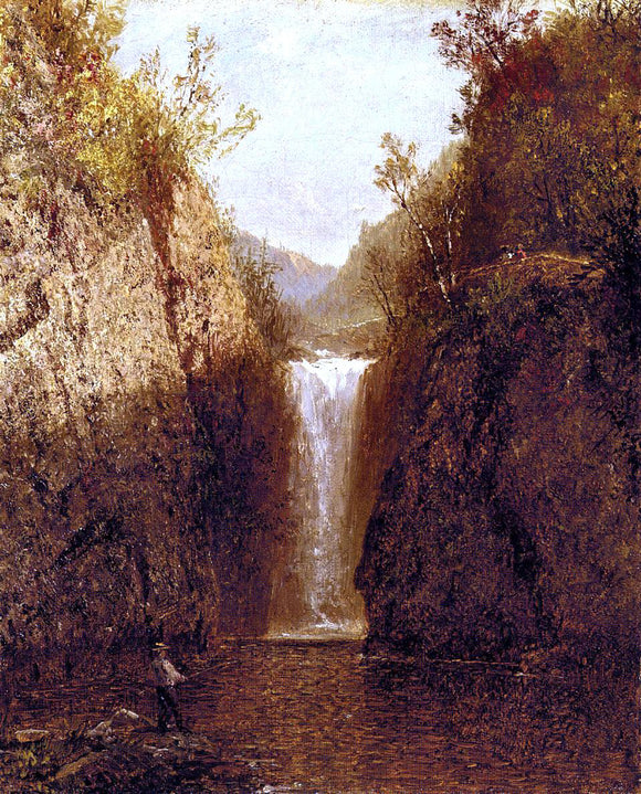 John Frederick Kensett Landscape with Waterfall - Canvas Art Print