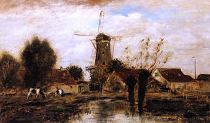 Johan Barthold Jongkind Landscape with Windmill - Canvas Art Print