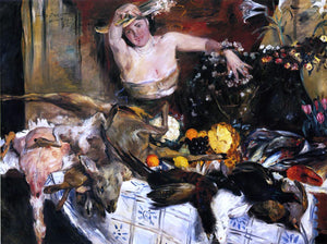 Lovis Corinth Large Still Life with Figure (also known as Birthday Picture) - Canvas Art Print