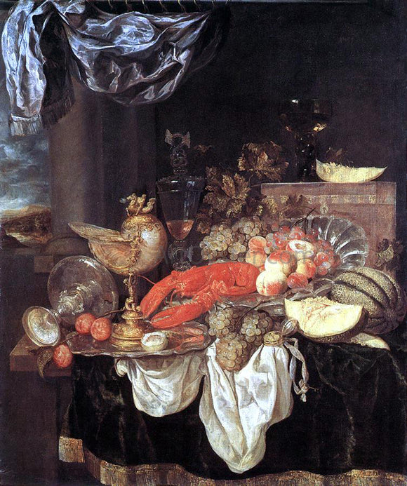 Abraham Van Beyeren Large Still-life with Lobster - Canvas Art Print
