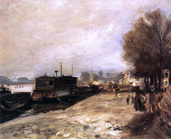Pierre Auguste Renoir Laundry Boat by the Banks of the Seine, near Paris - Canvas Art Print