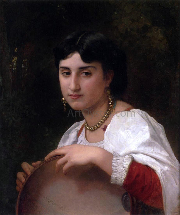 William Adolphe Bouguereau L'Italienne au tambourin (also known as Italian Woman with Tambourine) - Canvas Art Print