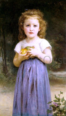 William Adolphe Bouguereau A Little Girl Holding Apples - Canvas Art Print