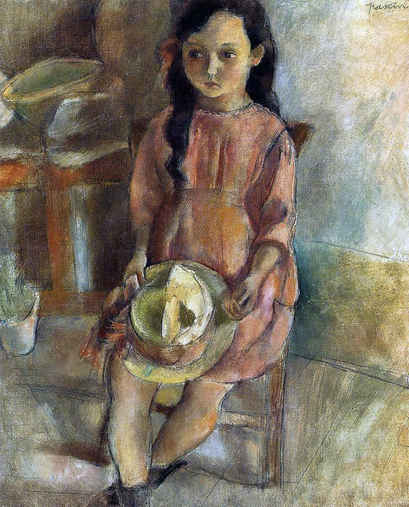 Jules Pascin A Little Girl with a Hat - Canvas Art Print