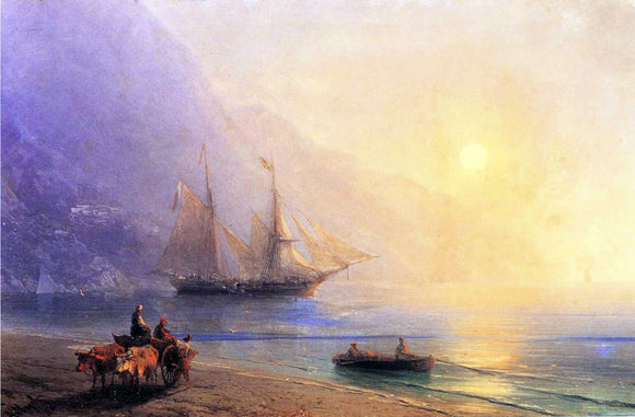 Ivan Constantinovich Aivazovsky Loading Provisions off the Crimean Coast - Canvas Art Print