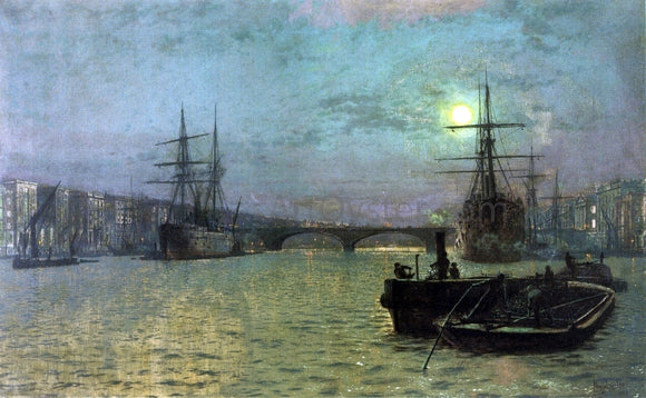 John Atkinson Grimshaw London Bridge - Half Tide - Canvas Art Print