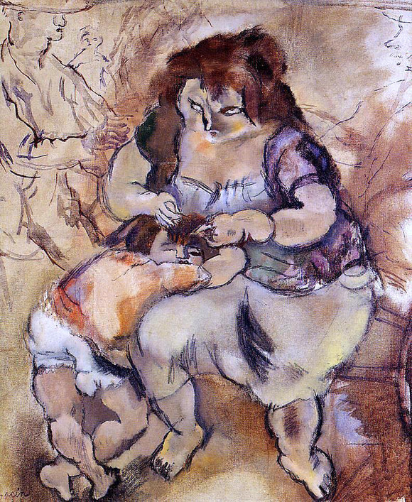 Jules Pascin Looking for Lice - Canvas Art Print