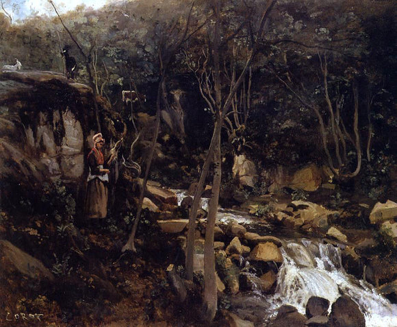 Jean-Baptiste-Camille Corot Lormes - A Waterfall with a Standing Peasant, Spinning Wool - Canvas Art Print