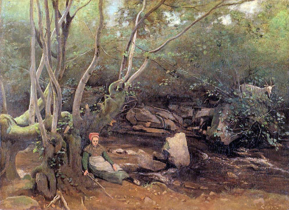 Jean-Baptiste-Camille Corot Lormes - Shepherdess Sitting Under Trees Beside a Stream - Canvas Art Print