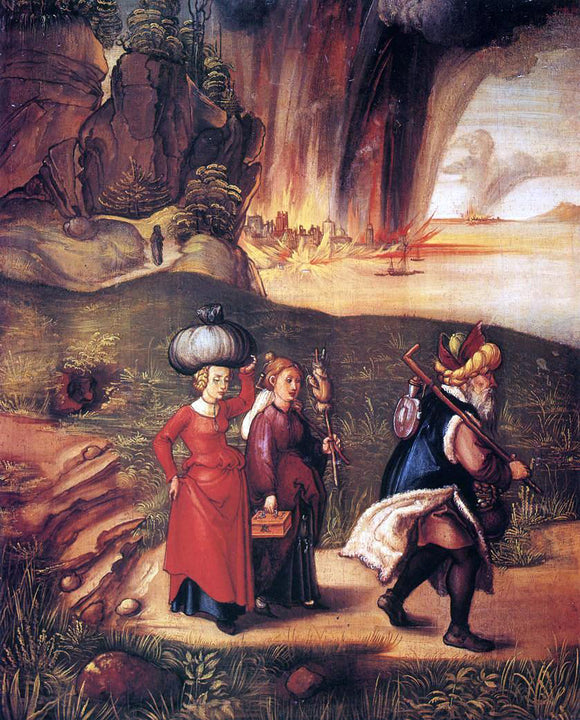 Albrecht Durer Lot Fleeing with his Daughters from Sodom - Canvas Art Print