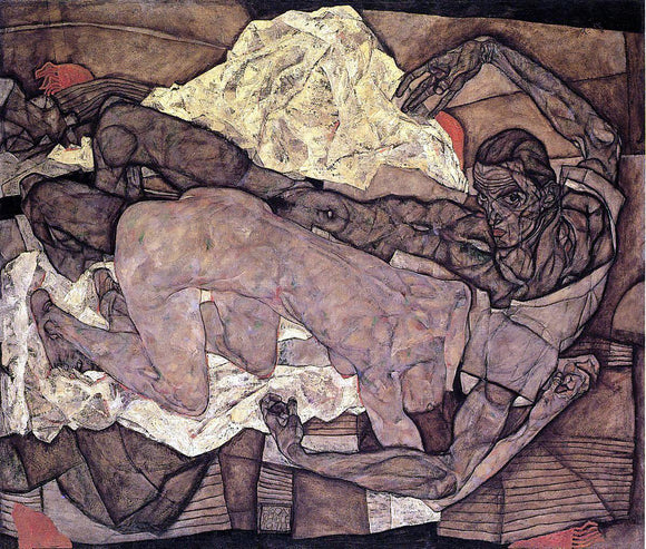 Egon Schiele Lovers: Man and Woman I - Canvas Art Print