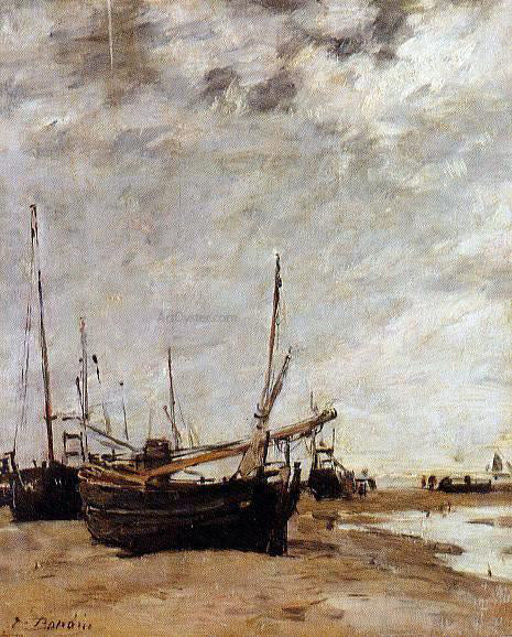 Eugene-Louis Boudin Low Tide, Grounded Sailboats - Canvas Art Print